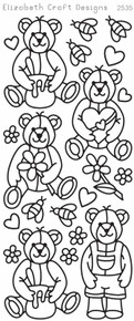 ELIZABETH CRAFT CUTE BEARS BLACK N2535 Peel Off Stickers OUTLINE