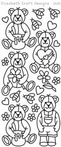 ELIZABETH CRAFT CUTE BEARS BLACK N2535 Peel Off Stickers OUTLINE
