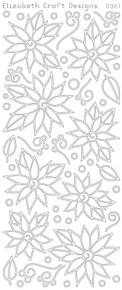 ELIZABETH CRAFT POINSETTIAS DAISIES SILVER 0361 Peel Off Stickers OUTLINE