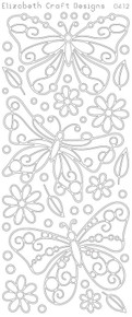 ELIZABETH CRAFT BUTTERFLIES LG SILVER N0412 Peel Off Stickers OUTLINE