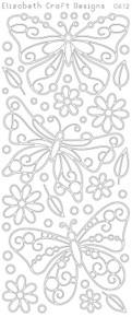 ELIZABETH CRAFT BUTTERFLIES LG SILVER N0412 Peel Off Stickers OUTLINE