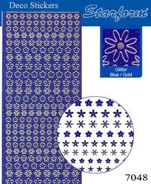 Starform GLITTER BLUE GOLD N7048 MINI FLOWERS Stickers Peel Outline