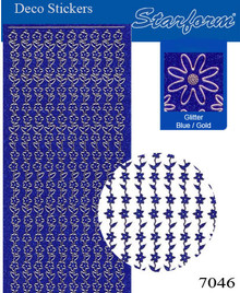 Starform GLITTER BLUE GOLD N7046 FLOWER BORDERS Stickers Peel Outline