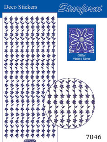 Starform GLITTER VIOLET SILVER N7046 FLOWER BORDERS Stickers Peel Outline
