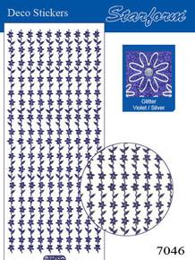 Starform GLITTER VIOLET SILVER N7046 FLOWER BORDERS Stickers Peel Outline