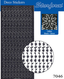 Starform GLITTER BLACK SILVER N7046 FLOWER BORDERS Stickers Peel Outline