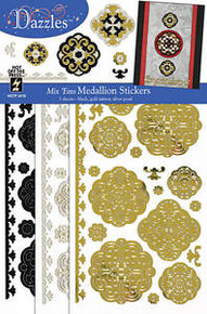 Mix Ems MEDALLION Stickers 2419 Gold Pearl Black Dazzles Peel Style Outline Stickers