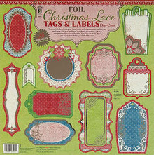 26pc on 2 sheeets HOTP Foil Christmas Lace Tags & Labels Die Cuts 3402