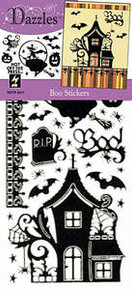 HOTP Dazzles N2411 Boo Stickers Black Sparkle Halloween Bat Pumpkin