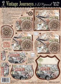 HOTP 3-D Papier Tole 8026 VINTAGE JOURNEYS  Die-Cut Paper Decoupage