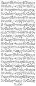 Starform N397 SILVER HAPPY BIRTHDAY! Outline Peel Sticker