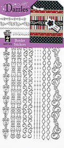 HOTP Dazzles N1875 SILVER Borders Outline Peel Sticker