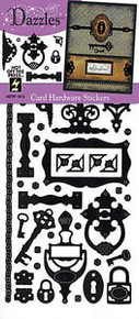 HOTP DAZZLES N1912 Black Card Hardware Dazzles Stickers PEEL OUTLINE STICKERS