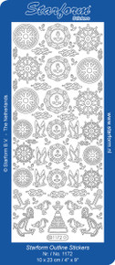 Starform BOATING NAUTICAL1172  SILVER Peel Stickers OUTLINE