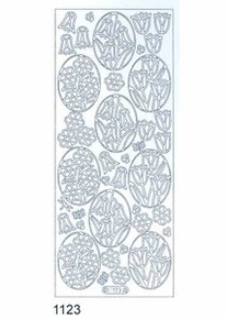 Starform FLOWERS IN OVALS silver 1123  Peel Stickers