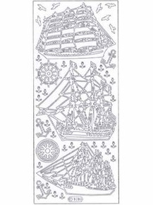 Starform N1010 Silver LARGE SAILING SHIPS Peel Stickers OUTLINE