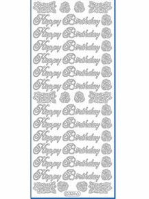 Starform N328 SILVER HAPPY BIRTHDAY Outline Peel Sticker