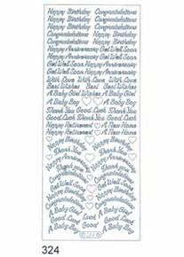 Starform N324 Silver Assorted Greetings Outline Peel Sticker
