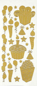 HOTP DAZZLES X13160 Gold Stitched Birthday Gift PEEL OUTLINE STICKERS 1868