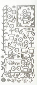 HOTP Dazzles N1610 SILVER Bloom Outline Peel Sticker