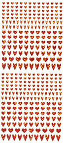 HOTP Dazzles N1566 Red Heart Outline Peel Sticker