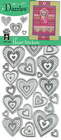 HOTP Dazzles N2085 SILVER Dimensional 3-D Hearts Outline Peel Sticker