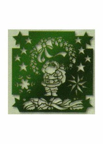 Green Christmas Stencil Santa Wreath Stars Swag 02 - 4888002