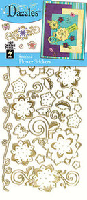HOTP Dazzles Stickers STITCHED flower GOLD 2035