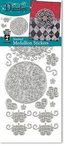 HOTP Dazzles Stacked Medallion Outline Stickers SILVER 1862