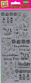 Outline N976 Silver Baby Congratulations Peel Stickers