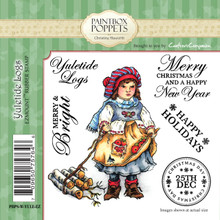 Paintbox Poppets YULETIDE LOGS By Christine Haworth 4-Stamp EZMount Rubber Stamp Set