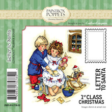 Paintbox Poppets LETTER TO SANTA By Christine Haworth 4-Stamp EZMount Rubber Stamp Set