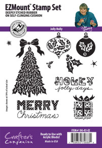 Dee Gruenig Jolly Holly EZMount Stamp Set Limited Edition Set of 11 Deeply Etched Christmas Stamps