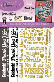 HOTP Dazzles 3-Pack Inside/Outside Greetings Stickers 2511 Gold White Black Outline Stickers