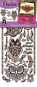 HOTP Dazzles Wisdom Owls Stickers Brown  HOTP2513