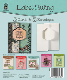 HOTP Label Swing Card 5 Die-Cut Cards & 5 Envelopes Card Blanks