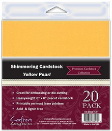 6x6 Shimmering Cardstock YELLOW PEARL 20 Sheets Great for embossing and die cutting Crafter's Companion