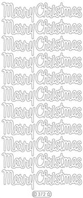 Starform Gold N372 LG MERRY CHRISTMAS Stickers Peel Outline