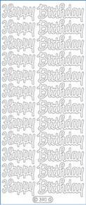 Starform N390 GLITTER SILVER GOLD HAPPY BIRTHDAY Outline Peel Sticker