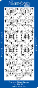 Starform SILVER 7001 Butterflies Stickers Peel Outline