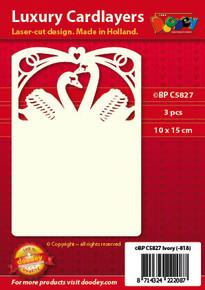 Luxury Cardlayers 3pc A6 Wedding Swans Ivory 10x15cm Laser-Cut Card