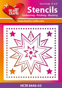 Hearty Crafts Stencil Stars HCM8446-03 for Embossing Pricking Masking Chalking Inking Paste Sprays Mists Markers More!