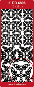 DD6806 Gold Gothic Corners Oval Adornment  Peel Stickers One 9x4 Sheet
