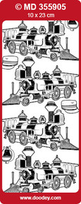 MD355905 Gold OldTimer Steam Locomotive-1 Peel Stickers One 9x4 Sheet