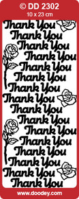 DD2302 Doodey Silver Thank You Stickers Peel Outline