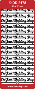 DD2178 Doodey Silver On Your Wedding Day Stickers Peel Outline