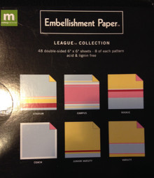 Embellishment Paper 6x6-inch Double-Sided Cardstock Stack Pack LEAGUE Collection 48-pc