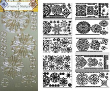 JEJE 3-D Ornament Stickers 2 Is a 10-sheet Pack of Beautiful, Detailed Silver Medallion Sticker Pack Peel Outline