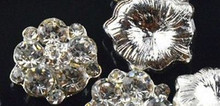 3 Flat Back Clear Rhinestone Cluster Buttons15mm No Shank