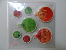Bright Red and Green Ornaments and Bells Stickers Dimensional Embellishment